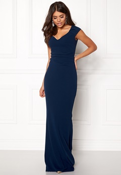 Goddiva Pleated Maxi Dress Navy Bubbleroom.dk