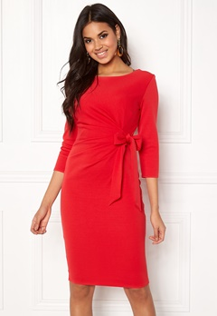Goddiva Pleated Midi Tie Dress Red Bubbleroom.dk
