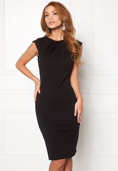 Goddiva Pleated Neckline Dress Black 1 Bubbleroom.dk