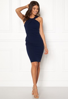Goddiva Pleated Neckline Dress Navy Bubbleroom.dk
