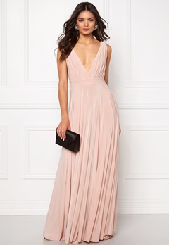 Goddiva Pleated Oscar Dress Nude Bubbleroom.dk