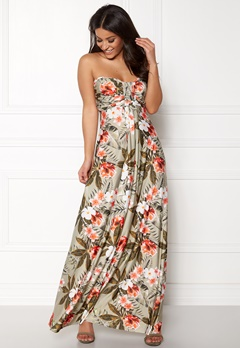 Goddiva Resort Bandeau Maxi Dress Tropical Print Bubbleroom.dk