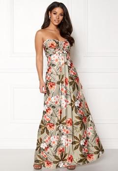 Goddiva Resort Bandeau Maxi Dress Tropical Print Bubbleroom.dk