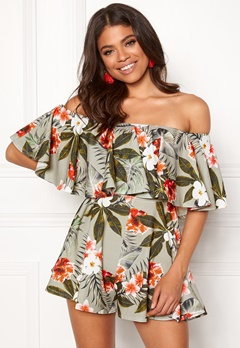 Goddiva Resort Bardot Frill Playsuit Tropical Print Bubbleroom.dk