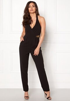 Goddiva Resort Gold Buckle Jumpsuit Black Bubbleroom.dk