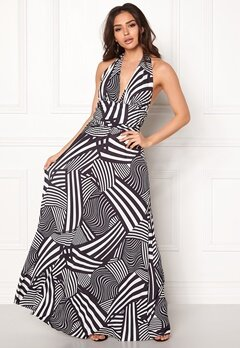 Goddiva Resort Halter Neck Maxi Dress Abstract Stripe Bubbleroom.dk
