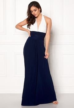 Goddiva Resort Halter Neck Maxi Dress White/Navy Bubbleroom.dk