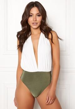 Goddiva Resort Halterneck Swimsuit White/khaki Bubbleroom.dk