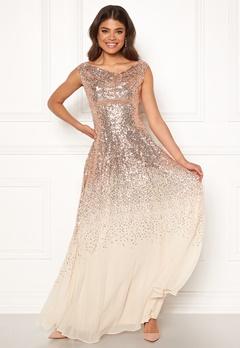 Goddiva Sequin Chiffon Maxi Dress Champagne Bubbleroom.dk