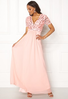 Goddiva Sequin Chiffon Maxi Dress Nude Bubbleroom.dk