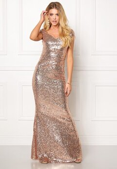 Goddiva Sequin Maxi Dress Champagne Bubbleroom.dk
