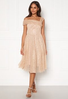 Goddiva Sequin One Shoulder Bardot Midi Dress Champagne Bubbleroom.dk