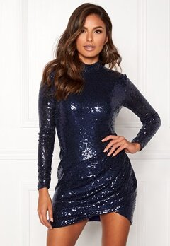 Goddiva Sequin Open Mini Dress Navy Bubbleroom.dk