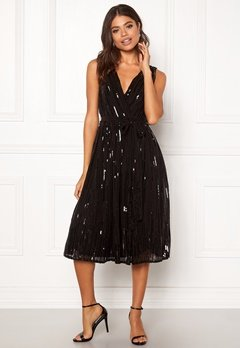 Goddiva Sequin Skater Dress Black Bubbleroom.dk