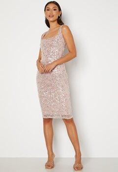 Goddiva Sequin Square Neck Midi Dress Blush Bubbleroom.dk