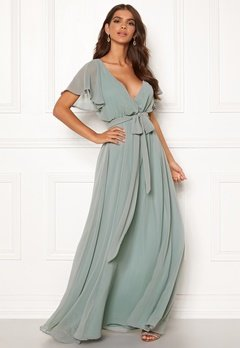 89a6dad3 Goddiva Sleeve Chiffon Maxi Dress Sage Green Bubbleroom.dk