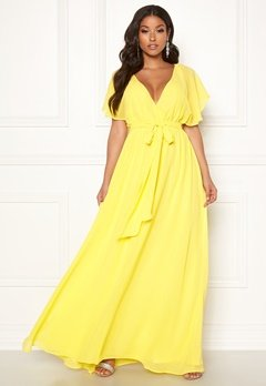 Goddiva Sleeve Chiffon Maxi Dress Soft Lemon Bubbleroom.dk
