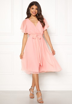 Goddiva Sleeve Chiffon Midi Dress Soft Pink Bubbleroom.dk