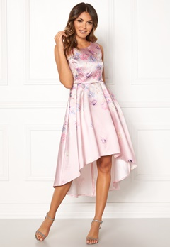 Goddiva Sleeveless High Low Dress Pink Satin Print Bubbleroom.dk