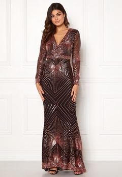 Goddiva Starburst Sequin Dress Black/gold Bubbleroom.dk