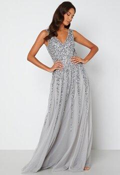 Goddiva Sunray Sequin Maxi Dress silver bubbleroom.dk