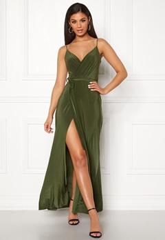 7811c25f39dd Goddiva Wrap Front Maxi Dress Olive Bubbleroom.dk