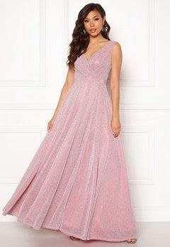 Goddiva Wrap Front Maxi Dress Pink Bubbleroom.dk