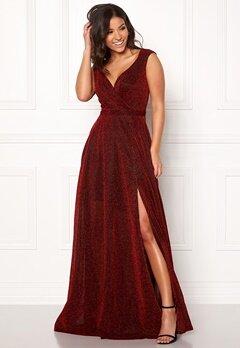 Goddiva Wrap Front Sleeve Dress Red Bubbleroom.dk