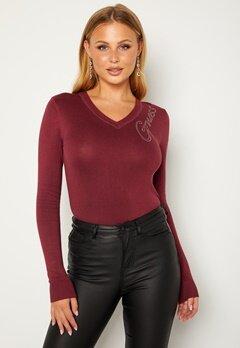 Guess Edith VN LS Sweater G5Q7 Ruby Merlot bubbleroom.dk
