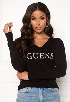 Guess LS V-Neck Emilia Sweater Jet Black Bubbleroom.dk