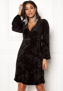 Happy Holly Abrianna velour dress Black Bubbleroom.dk