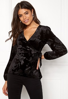 Happy Holly Abrianna velour top Black Bubbleroom.dk