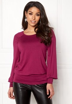 Happy Holly Adela cuff top Dark fuchsia Bubbleroom.dk