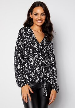 Happy Holly Amanda puff sleeve wrap top Black / Floral bubbleroom.dk
