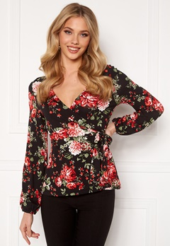 Happy Holly Amanda puff sleeve wrap top Black / Patterned Bubbleroom.dk
