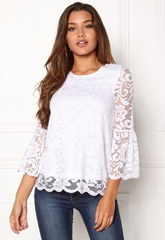 Happy Holly Amie lace top White Bubbleroom.dk