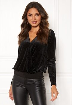 Happy Holly Angela velvet top Black Bubbleroom.dk