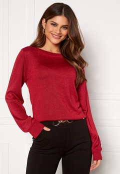 Happy Holly Angelica lurex sweater Dark red Bubbleroom.dk