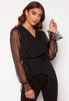 Happy Holly Athena bow sleeve blouse  Black Bubbleroom.dk