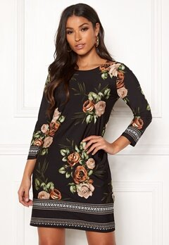 Happy Holly Blenda dress Brown / Floral Bubbleroom.dk