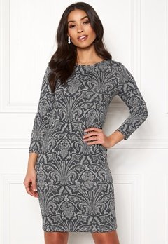 Happy Holly Blenda lurex dress Grey melange / Silver Bubbleroom.dk