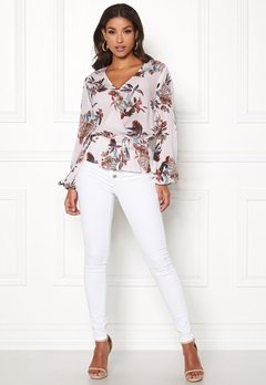 Happy Holly Brea wrap blouse Offwhite / Patterned Bubbleroom.dk