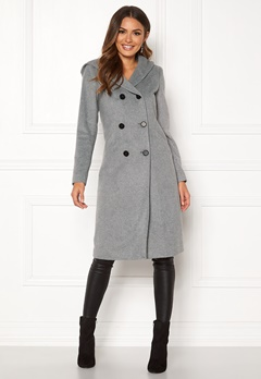 Happy Holly Brielle Hoody coat Grey melange Bubbleroom.dk