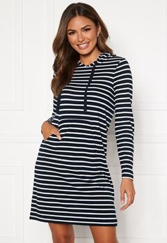 Happy Holly Camila striped tricot hood Dark blue / Striped Bubbleroom.dk