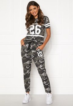 Happy Holly Carolyn tricot pants Grey melange / Camouflage Bubbleroom.dk