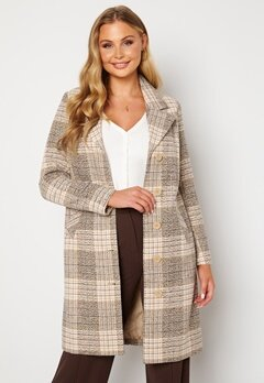 Happy Holly Corinne checked coat Beige / Checked Bubbleroom.dk