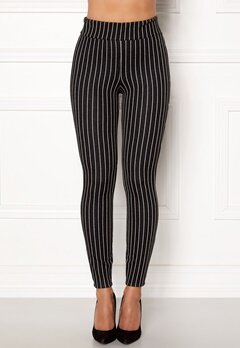 Happy Holly Ditte pin-stripe leggings Black / Striped Bubbleroom.dk