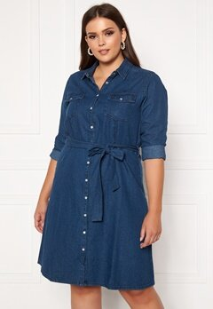 Happy Holly Doris denim dress Dark denim Bubbleroom.dk