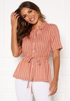 Happy Holly Ebba shirt blouse Coral / Striped Bubbleroom.dk