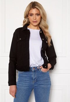 Happy Holly Elina denim jacket Black Bubbleroom.dk